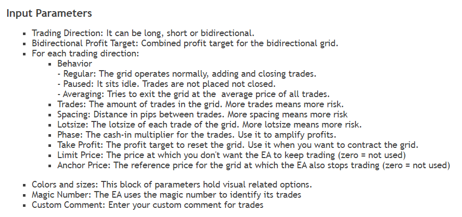 Point Zero Trading. There's a settings list which we're allowed to customize.