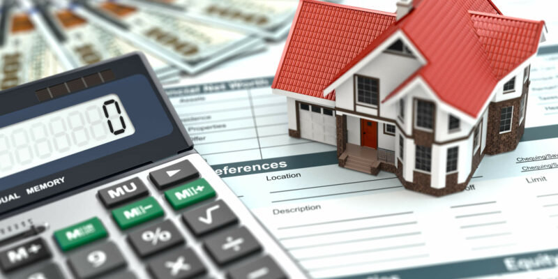 Mortgage calculator. House, noney and document