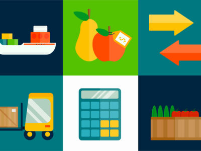 Import export fruits and vegetables delivery vector icons set. Shipping shop commerce container sign.