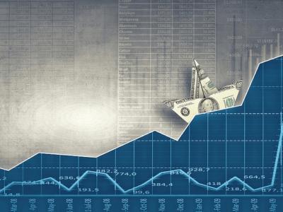 Dollar ship on trading wave
