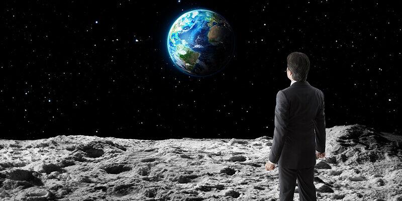 Businessman on the moon