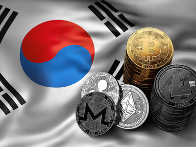 Stack of Bitcoin coins on South Korean