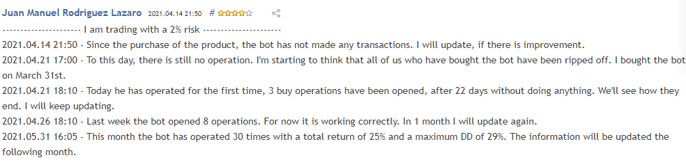 User's review who got a DD of 29%