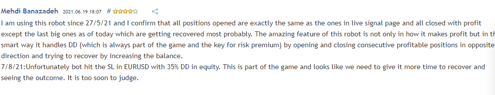 Trader' review who experienced the high 35% DD in equity