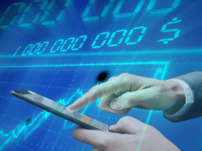 man with smartphone and background with digits