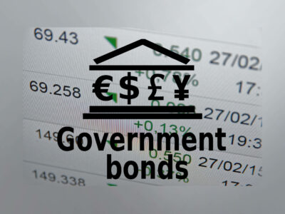 Text Government bonds with symbol of currencies