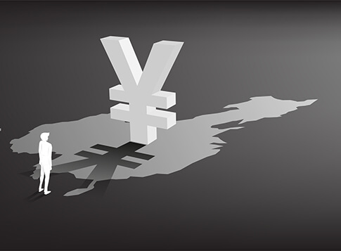 Silhouette of businessman standing with money yuan currency icon 3D with shadow on china map