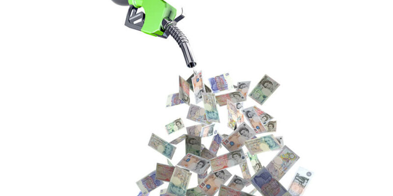 fuel nozzle with pound banknotes 3d illustration