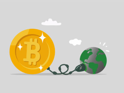 Big bitcoin with electric plug sucking energy from planet earth.