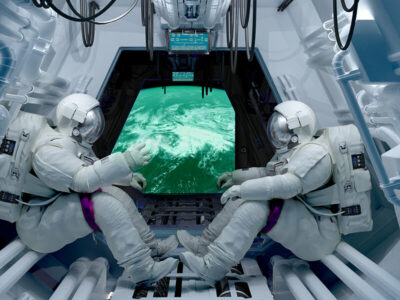 Two astronauts inside the spacecraft