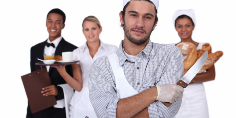 People of different nations working in the service sector