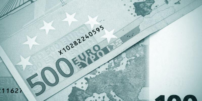 Abstract closeup of euro money.