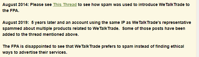FPA team stating that WeTalkTrader prefers to spam