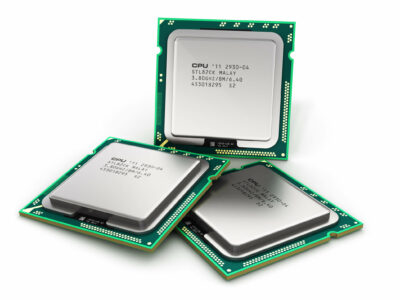 Creative abstract computer technology and electronic industry manufacturing concept: modern PC central processors CPU isolated on white background