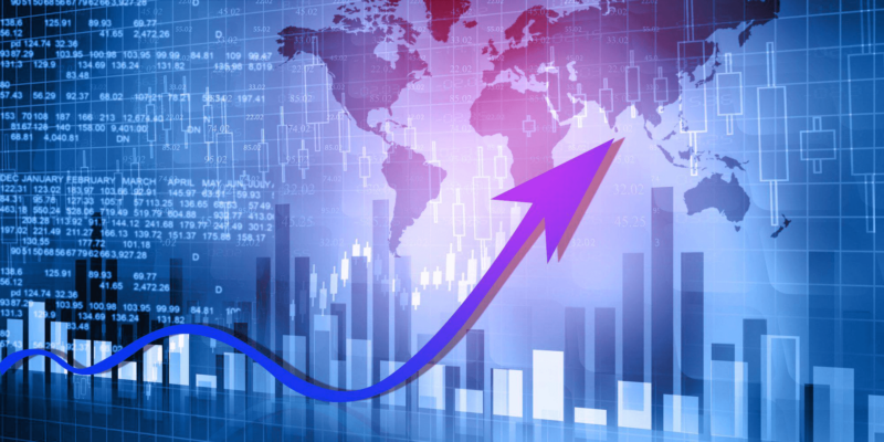 Map of the world and trading chart/ World`s trading concept