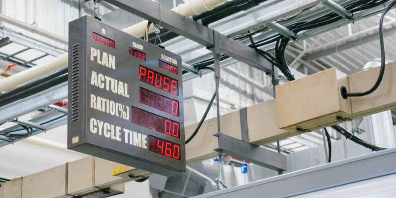 Operation ratio display board in industrial production line with digital numerical. Industry performance theme.