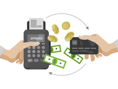 Pos terminal and payments systems. Financial transactions. Hand hold a bank card and payment terminal for the successful payment process.