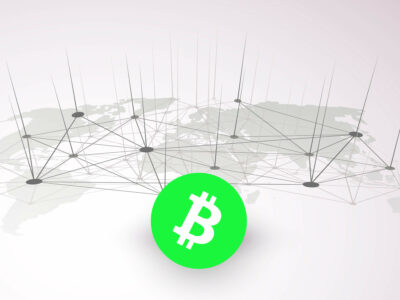 Symbol of bitcoin with the world`s map on the background