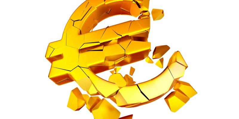 Gold symbol of euro is broken