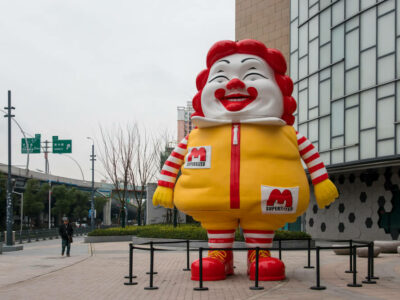 A 10-meter-tall chubby Ronald McDonald sculpture is on display at Wujiaochang shopping area in Yangpu District, Shanghai, China, 7 January 2019.
