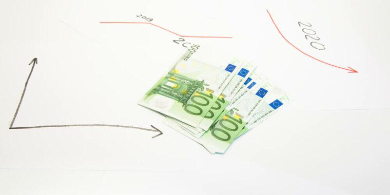 money on the letterhead. Economic growth chart