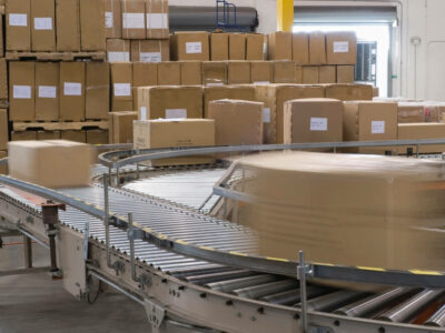 Boxes and conveyor