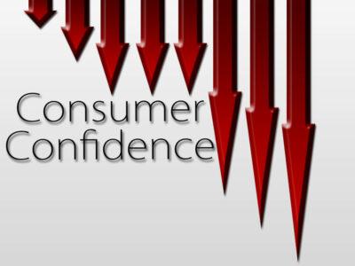 Chart illustrating Consumer Confidence drop , macroeconomic indicator concept