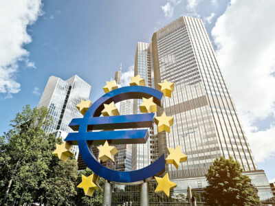 Euro Sign in front of the European Central Bank (ECB) headquarter building in Frankfurt am Main, Germany