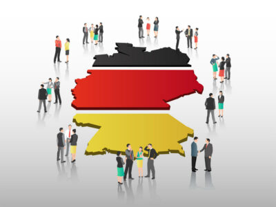 Business people vector with german flag and country outline on grey background