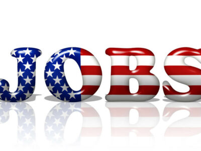 The word Jobs in the American flag colors, Jobs in America
