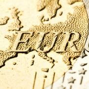 Еру map of Europe on euro coin, macro photo